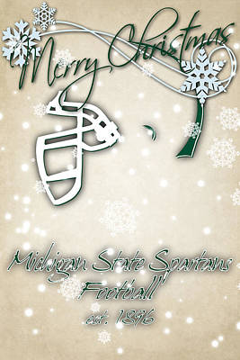 Michigan State Spartans Christmas Card 2 Poster by Joe Hamilton