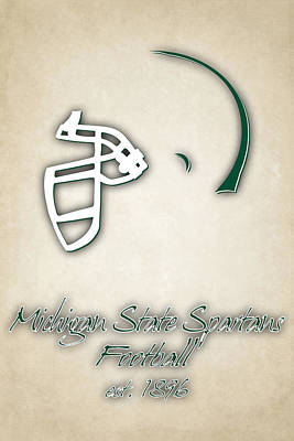 Michigan State Spartans Helmet 2 Poster by Joe Hamilton