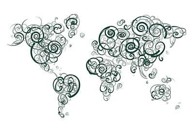 Michigan State University Colors Swirl Map Of The World Atlas Poster by Jurq Studio
