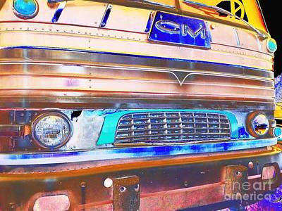 Mid Century Gm Greyhound Bus Front Grill Abstract Poster by Scott D Van Osdol