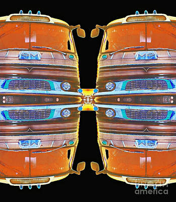 Mid Century Gm Greyhound Bus - Mirrored Abstract Poster by Scott D Van Osdol