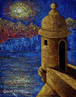 Midnight Mirage In San Juan Poster by Oscar Ortiz