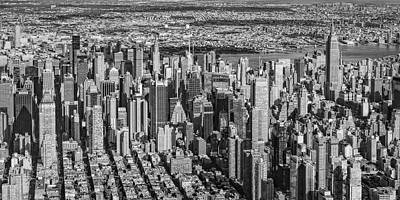 Midtown Manhattan Nyc Aerial View Bw Poster by Susan Candelario