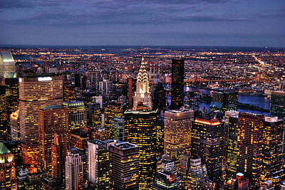 Midtown Skyline At Dusk Poster by Randy Aveille