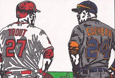 Mike Trout And Miguel Cabrera Poster by Jeremiah Colley