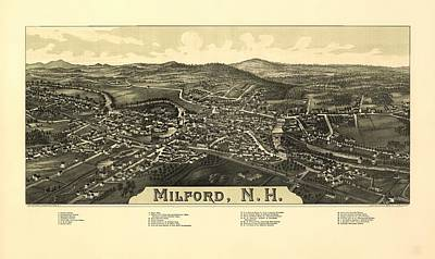 Milford New Hampshire 1886 Poster by Mountain Dreams