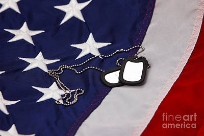 Military Dog Tags Lying On United States Of America Flag Poster by Joe Fox