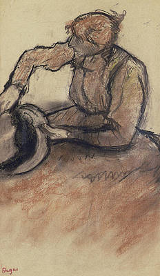 Milliner Trimming A Hat Poster by Edgar Degas