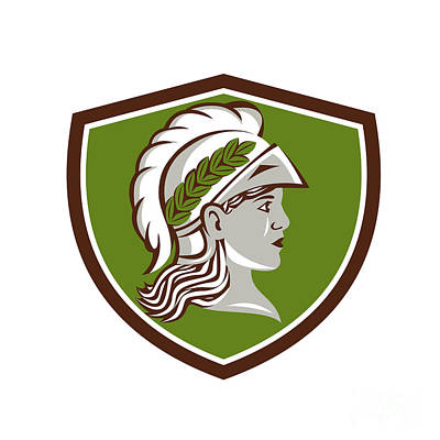 Minerva Head Crest Retro Poster by Aloysius Patrimonio
