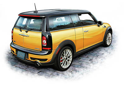 Mini Cooper Clubman Yellow Poster by David Kyte
