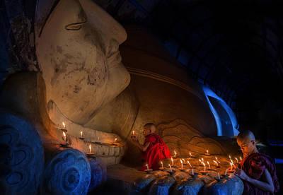 Mini Monk In Meditation Inside Temple  Poster by Anek Suwannaphoom