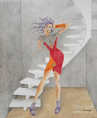 Minimalist Madness -- Whimsical Fashion Drawing Poster by Jayne Somogy