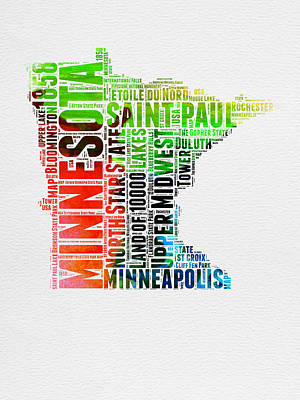 Minnesota Watercolor Word Cloud Map  Poster by Naxart Studio