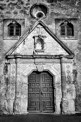 Mission Concepcion Entrance - Bw Poster by Stephen Stookey