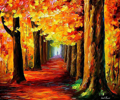 Mistery Alley - Palette Knife Oil Painting On Canvas By Leonid Afremov Poster by Leonid Afremov