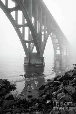 Misty Morning At Yaquina Bridge Poster by Inge Johnsson