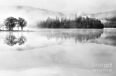 Misty Morning Loch Ard Poster by Janet Burdon