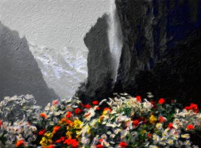 Misty Mountain Flowers - Abstract Impressionist Landscape Poster by Katrina Britt
