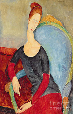 Mme Hebuterne In A Blue Chair Poster by Amedeo Modigliani