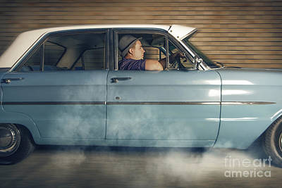 Mobster Man From 1950 Driving Getaway Car Poster by Jorgo Photography - Wall Art Gallery