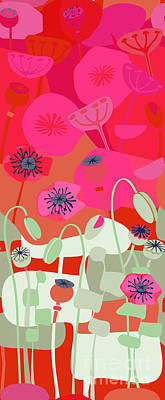 Mod Red Poppies Poster by CR Leyland