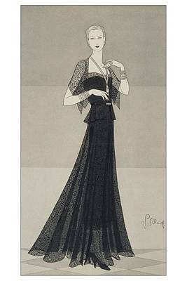 Model Wearing A Black Lace Dress Poster by Conde Nast