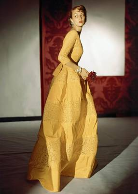 Model Wearing A Lemon Yellow Evening Poster by Conde Nast