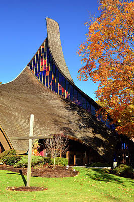 Modern Church In Autumn Poster by James Kirkikis
