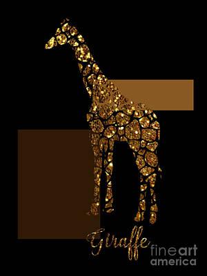 Modern Gilt Giraffe, Gold Black Brown Poster by Tina Lavoie