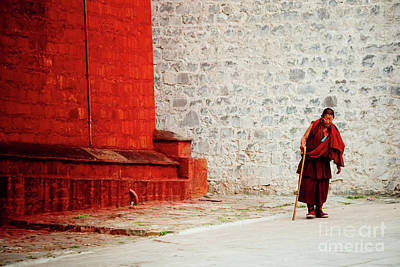 Monk In Tashilhunpo Monastery Shigatse Tibet Yantra.lv Poster by Raimond Klavins