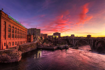 Monroe Bridge Sunset View Poster by Mark Kiver