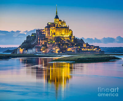 Mont Saint-michel In Twilight Poster by JR Photography