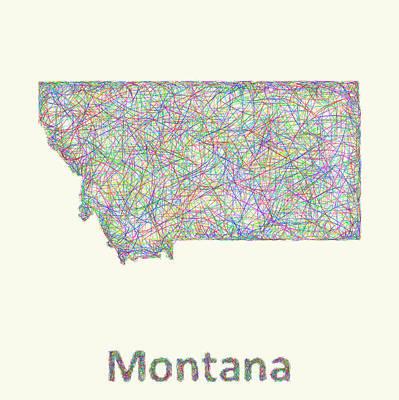 Montana Line Art Map Poster by David Zydd