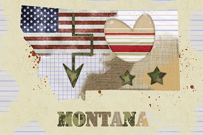 Montana Mixed Media Map Poster by Mihaela Pater