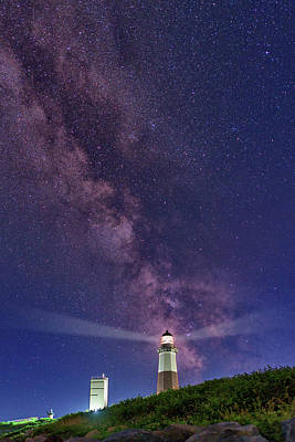 Montauk Point And The Milky Way Poster by Rick Berk