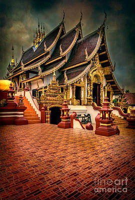 Monthian Temple Chiang Mai  Poster by Adrian Evans