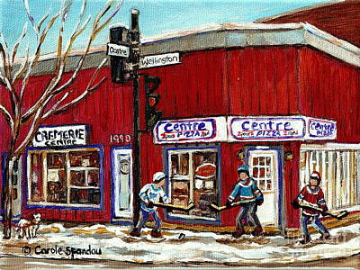 Montreal Corner Restaurant Centre Pizza Hockey Art Winter Scene Canadian Painting Carole Spandau Poster by Carole Spandau