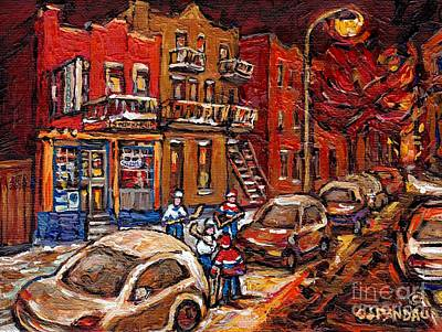 Montreal Night Scene Painting Hockey Game On Rue Centre At The Depanneur Pointe St Charles Winter  Poster by Carole Spandau