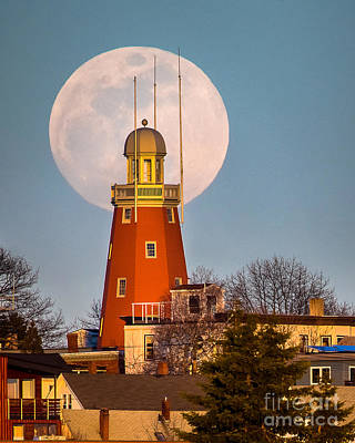 Moon Behind The Portland Observatory Poster by Benjamin Williamson