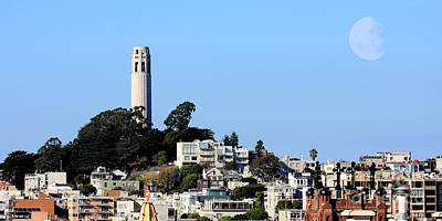 Moon Over Coit Tower Poster by Wingsdomain Art and Photography