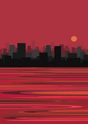 Moon Over Manhattan - Pink Poster by Val Arie