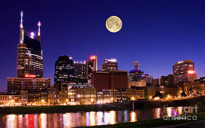 Moon Over Nashville, Tennessee Poster by Garland Johnson