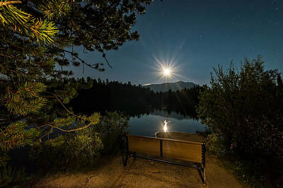 Moon Over Sawmill Lake Poster by Michael J Bauer