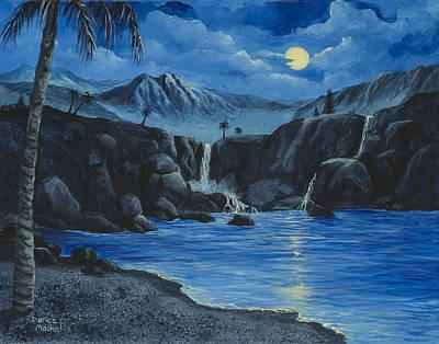 Moonlight And Waterfalls Poster by Darice Machel McGuire