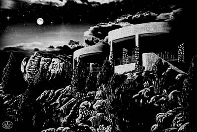 Moonlit Sadona Clubhouse Poster by Ron Chambers