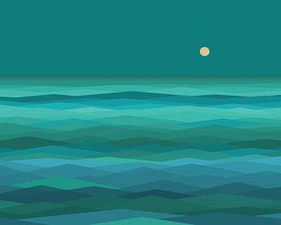 Moonrise At Sea Poster by Val Arie