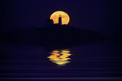 Moonrise Over Cape Neddick Poster by Rick Berk