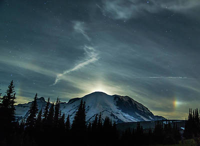 Moonset On Mt. Rainier Poster by Angie Vogel