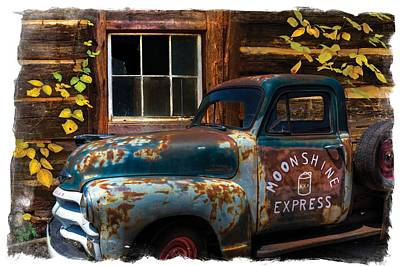 Moonshine Express Bordered Poster by Debra and Dave Vanderlaan