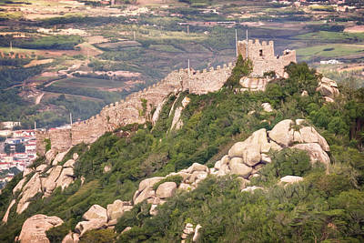 Moorish Castle Portugal From Above Poster by Joan Carroll